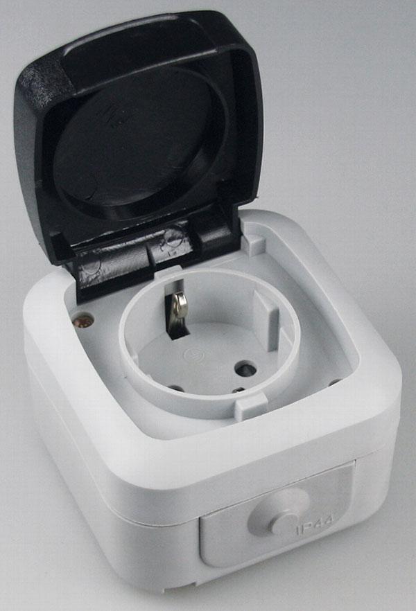 Aufputz-Schalter-Programm-Feuchtraum-IP44-AP-Steckdose-Taster-Kombination-Doppel