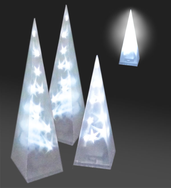 led pyramide mit wei en leds 30 47 60 cm stern lichter weihnachtsdeko kabellos ebay. Black Bedroom Furniture Sets. Home Design Ideas