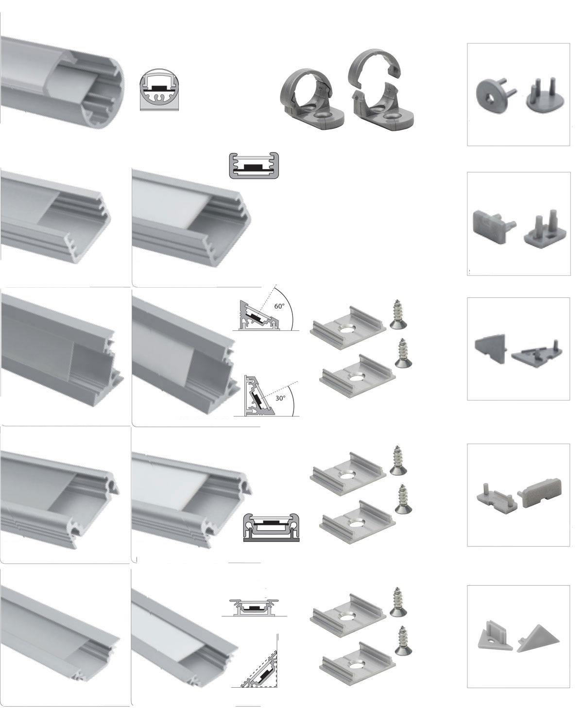 led aluminium profile abdeckung aluprofil f led streifen schiene strips ebay. Black Bedroom Furniture Sets. Home Design Ideas