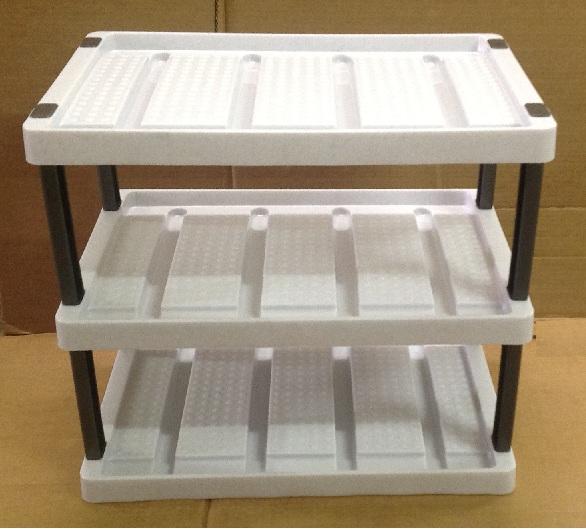 schuhregal wei grau meliert 3 ebenen abtropfschale erweiterbar kunststoff ebay. Black Bedroom Furniture Sets. Home Design Ideas