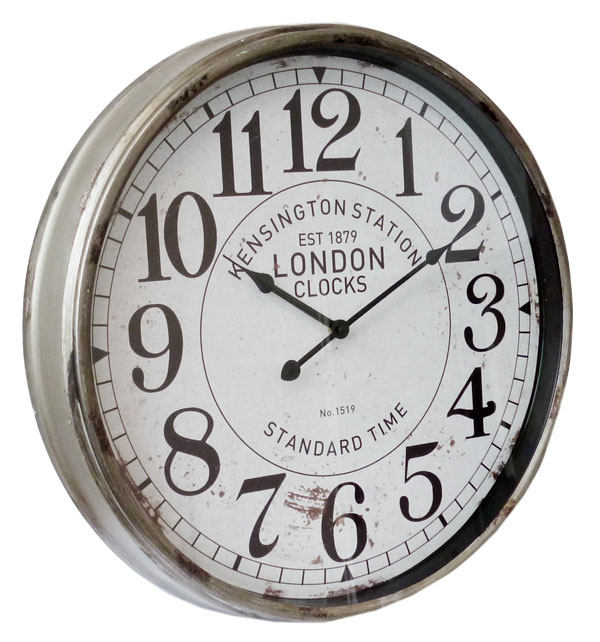 xxl uhr wanduhr bahnhofsuhr 50 x 8 cm gro vintage metall london standard time ebay. Black Bedroom Furniture Sets. Home Design Ideas